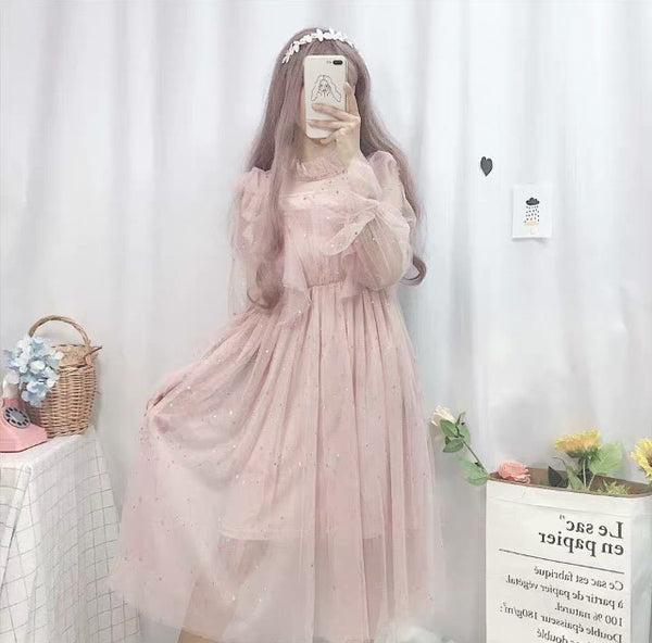 Pink Star Embellished Kawaii Princess Tulle Fairy Dress