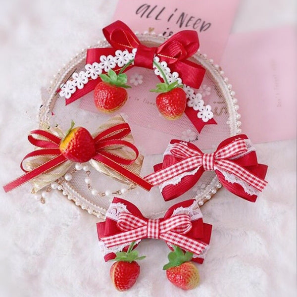 Strawberry Kawaii Mori Girl Plaid Lolita Hairclip