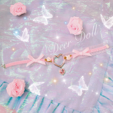 Romantic Heart Charm Rose Princess Choker