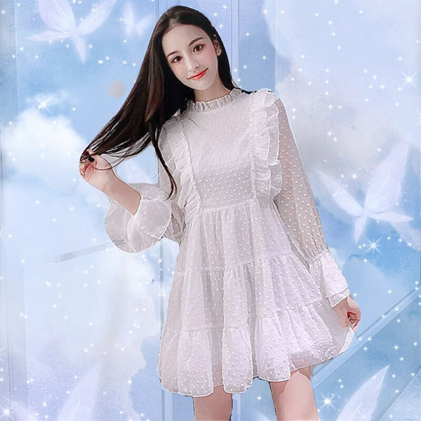 Lila White Fairy Chiffon Mini Dress