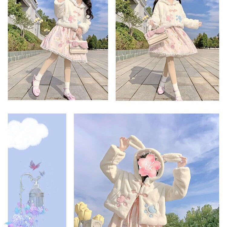 Soft Sweet White Fuzzy Bunny Lolita Cropped Hoodie Jacket