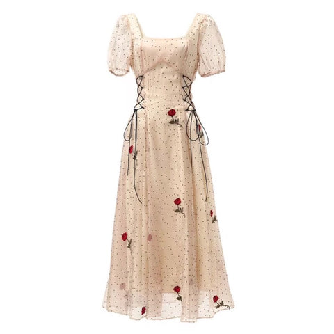 Rose Blossom Flower Embroidered Summer Princess Dress