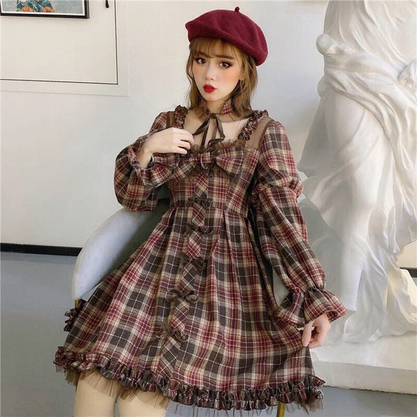 Mulberry Chillyrose Plaid Long Sleeve Lolita Dress