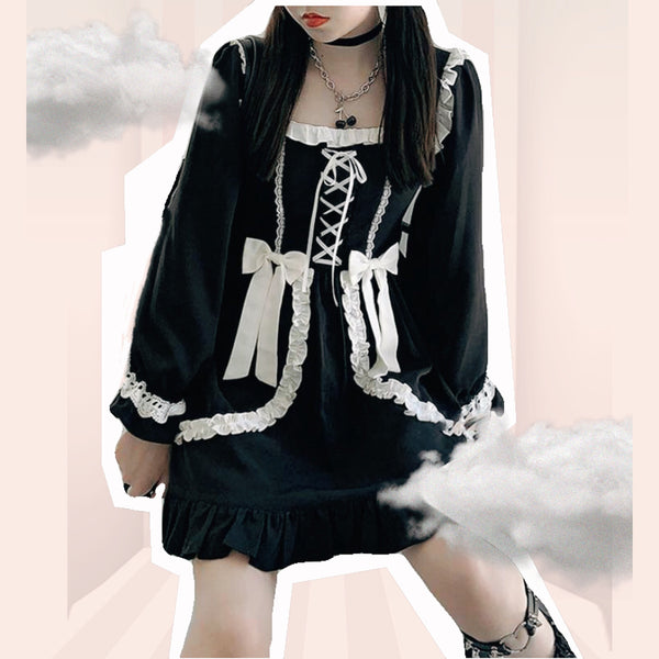 Black Cupcake Dark Lolita Gothic Mini Dress