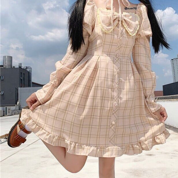 Olivia Snowbird Plaid Kawaii Princess Dolly Dress with Choker
