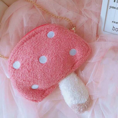 Soft Kawaii Cottagecore Forest Fairy Mushroom Purse Bag
