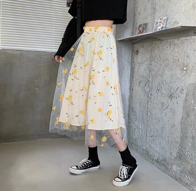 Flower Embroidered Cottagecore Skirt