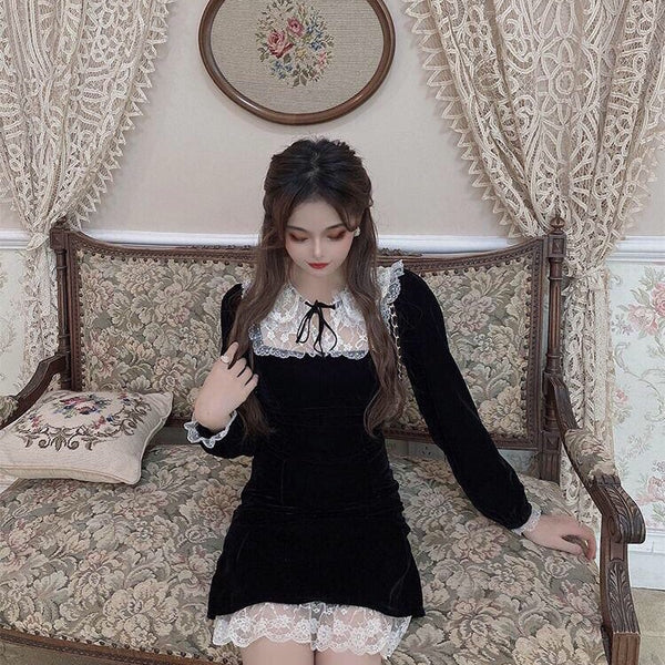 Black Velvet Romantic Gothic Mini Dress