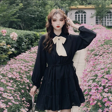 Evening Grace Dark Lolita Gothic Doll Mini Dress with Bow