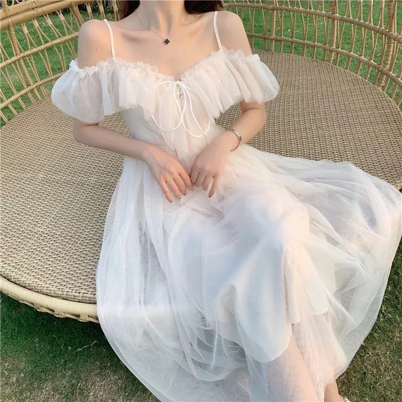 Serena Tulle Ruffle Off-shoulder Fairy Dress