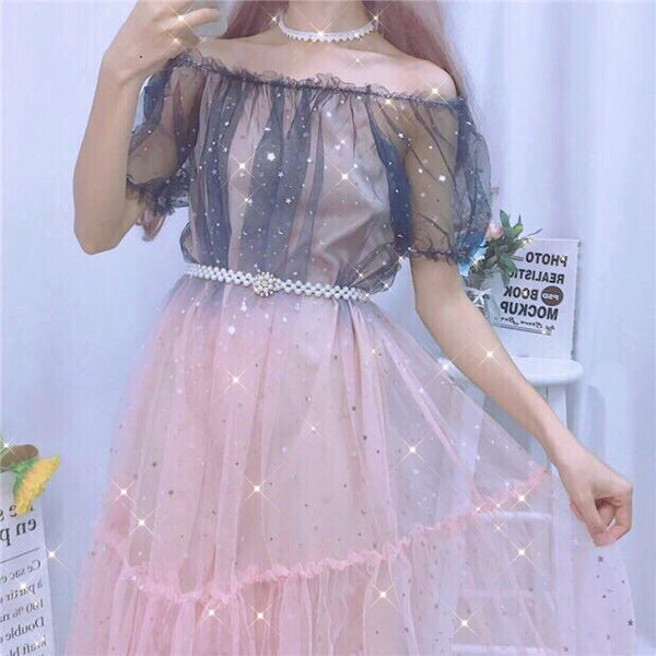 Midnight Blush Star Sequin Embellished Tulle Fairy Dress