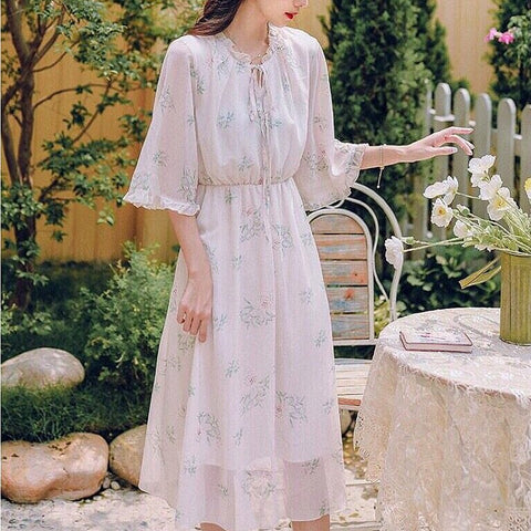 Acacia Floral Midi Chiffon Dress