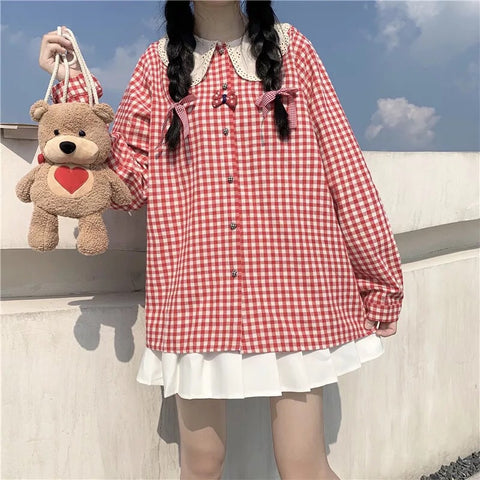 Plaid Cotton Linen Gingham Peter Pan Collar Dolly Shirt