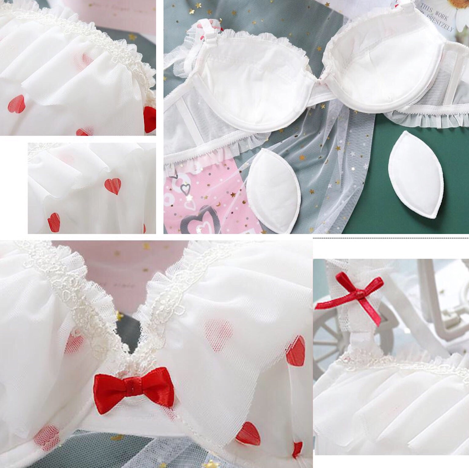 Nymphette Heart Ruffle 2-piece Kawaii Princess Lolita Nymphet Lingerie Set