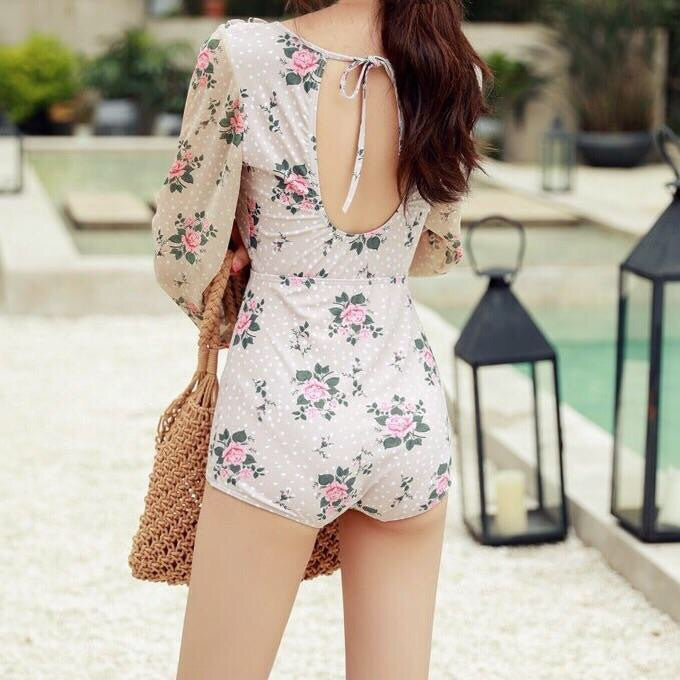 Rose Swim Vintage-Style Floral Long Sleeve One Piece Swimsuit