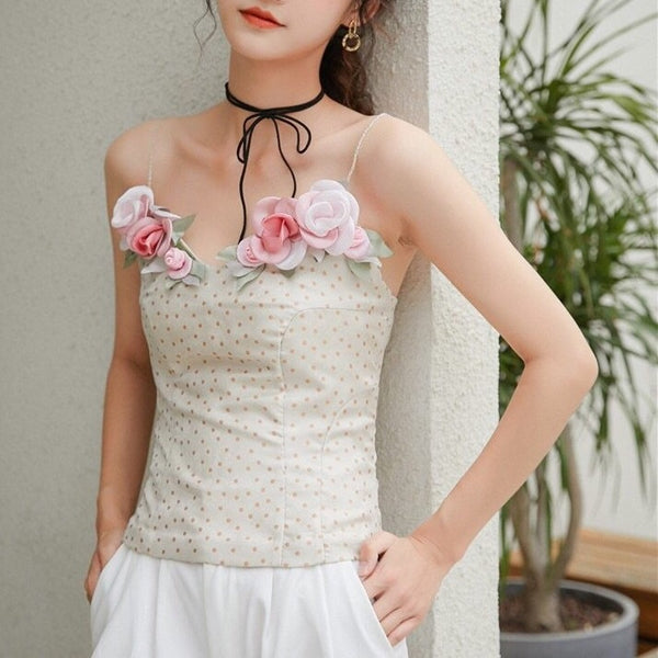 Diana Flower Applique Polka Dot Fairy Bustier