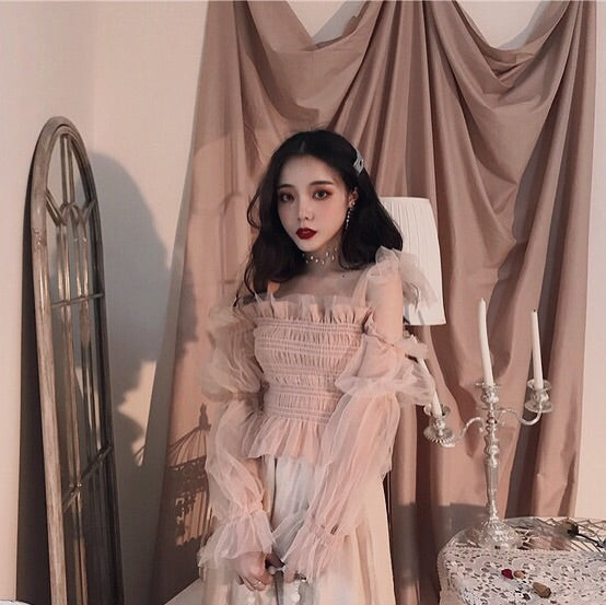 Tulle Ruffle Long Sleeve Off-Shoulder Fairy Blouse
