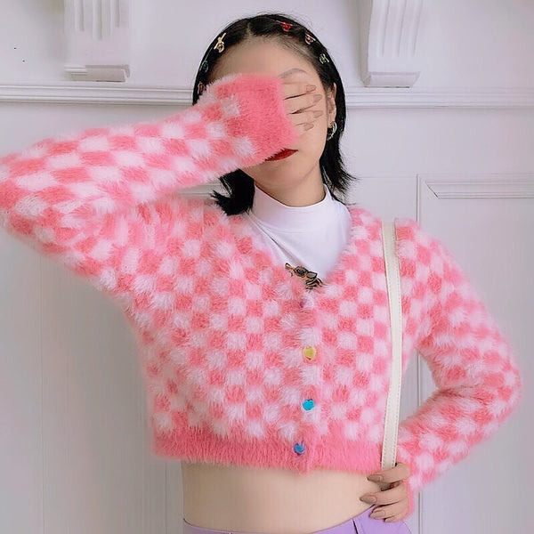 Kawaii Aesthetic Fuzzy Pink Checkered Cropped Cardigan
