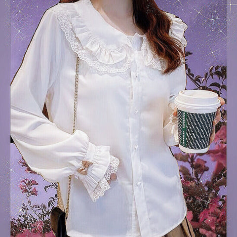 Casual Lolita Long Sleeve Shirt with Lace Peter Pan Collar