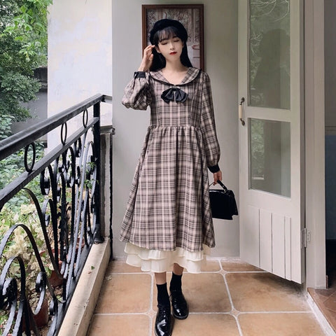 Coyote Forest Plaid Vintage Style Dress