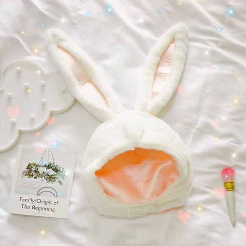 White Bunny Ears Kawaii Girl Soft Plush Hat