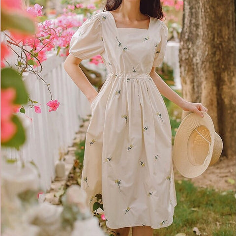 Mora Flower Embroidered Spring Dress