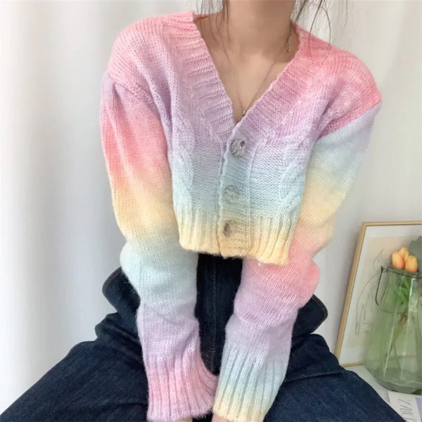 Pastel Kawaii Aesthetic Cropped Rainbow Cardigan Sweater