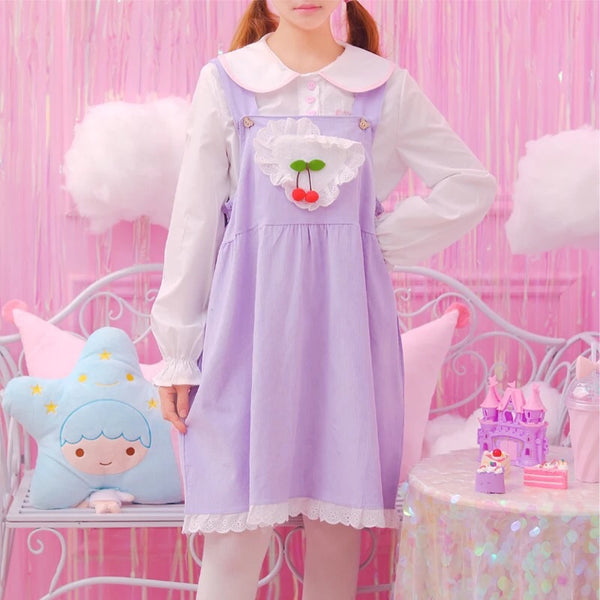 Pastel Kawaii Aesthetic Cherry Lolita Dolly Pinafore Dress