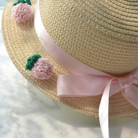 Strawberry Girl Kawaii Mori Lolita Straw Hat