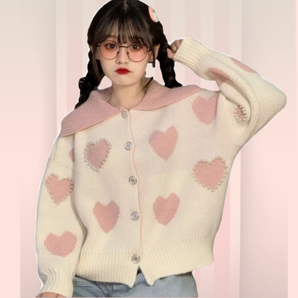 Pearl Beaded Pastel Pink Heart Kawaii Cardigan Sweater