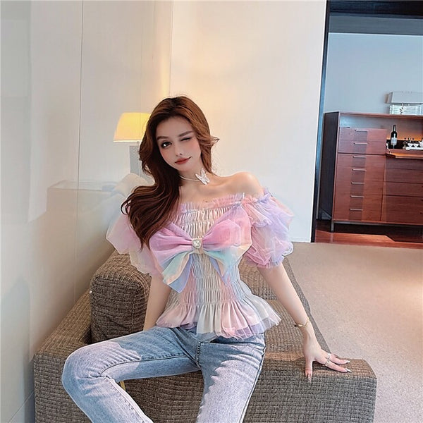 Pastel Kawaii Rainbow Aesthetic Tulle Fairy Top