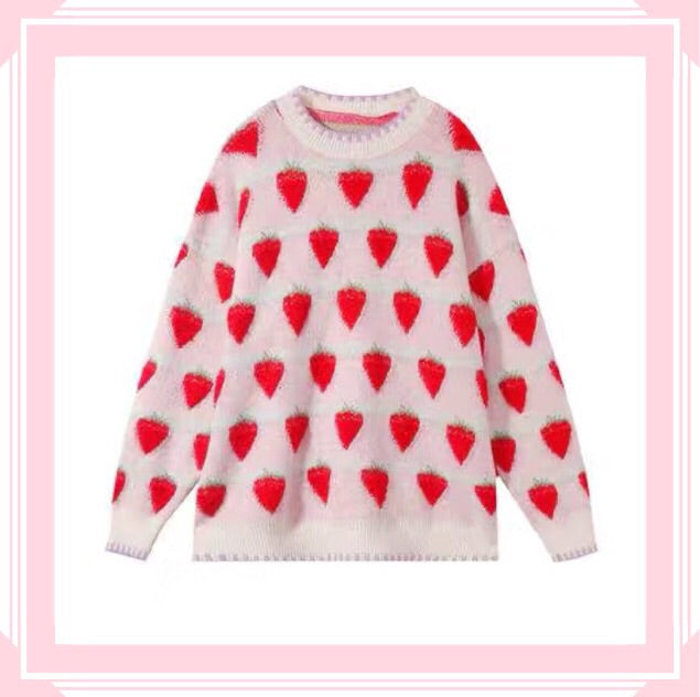 Winter Strawberry Kawaii Aesthetic Sweater