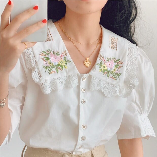 Flower Embroidered Lace Vintage-style Cottagecore Shirt