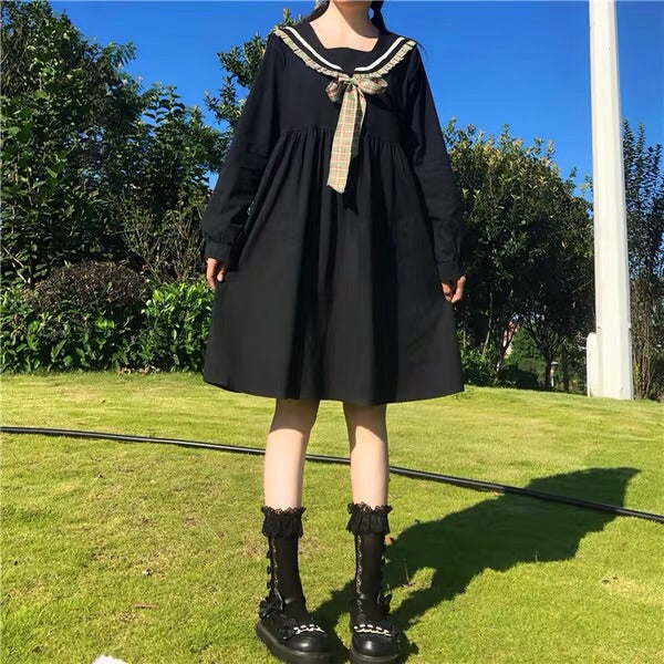 Dark Lolita Kawaii Sailor Long Sleeve Lolita Dress
