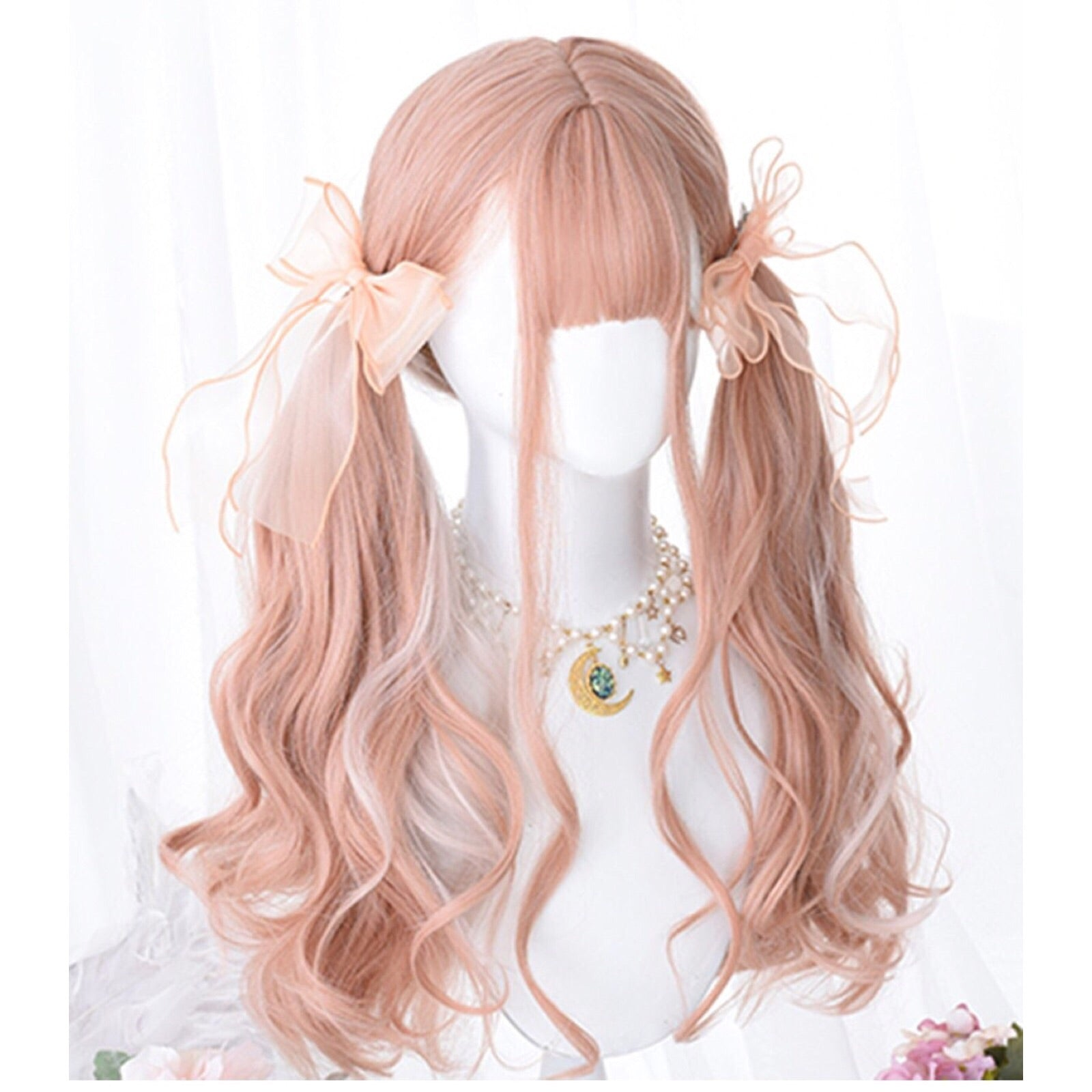 Coral-Pink Long Wavy Kawaii Cosplay Lolita Wig with Bangs