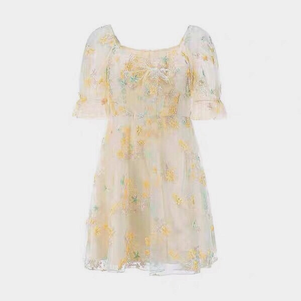 Petal Sea Embroidered Fairy Mini Dress