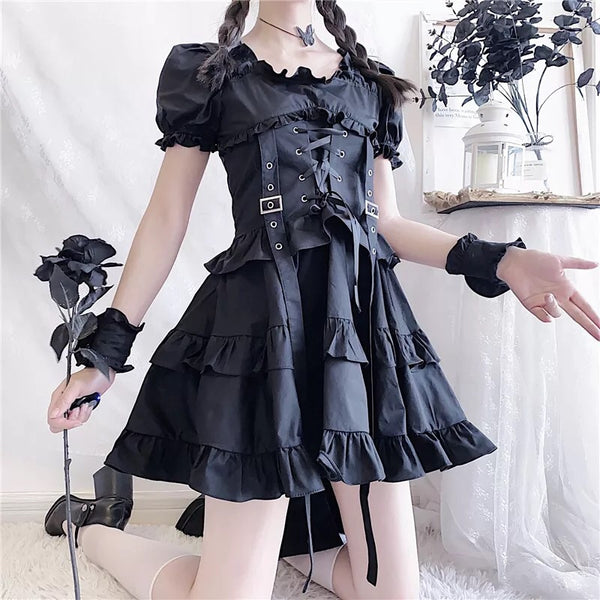 Dark Lolita Gothic Princess Mini Dress with Wrist Cuffs
