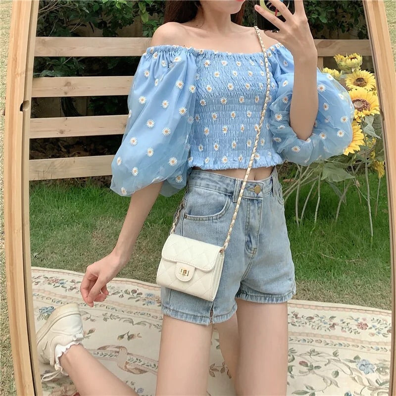 Daisy Blues Embroidered Puff Sleeve Mesh Crop Top