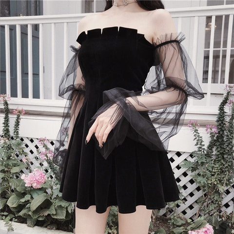 Gothic Princess Off-Shoulder Mini Dress