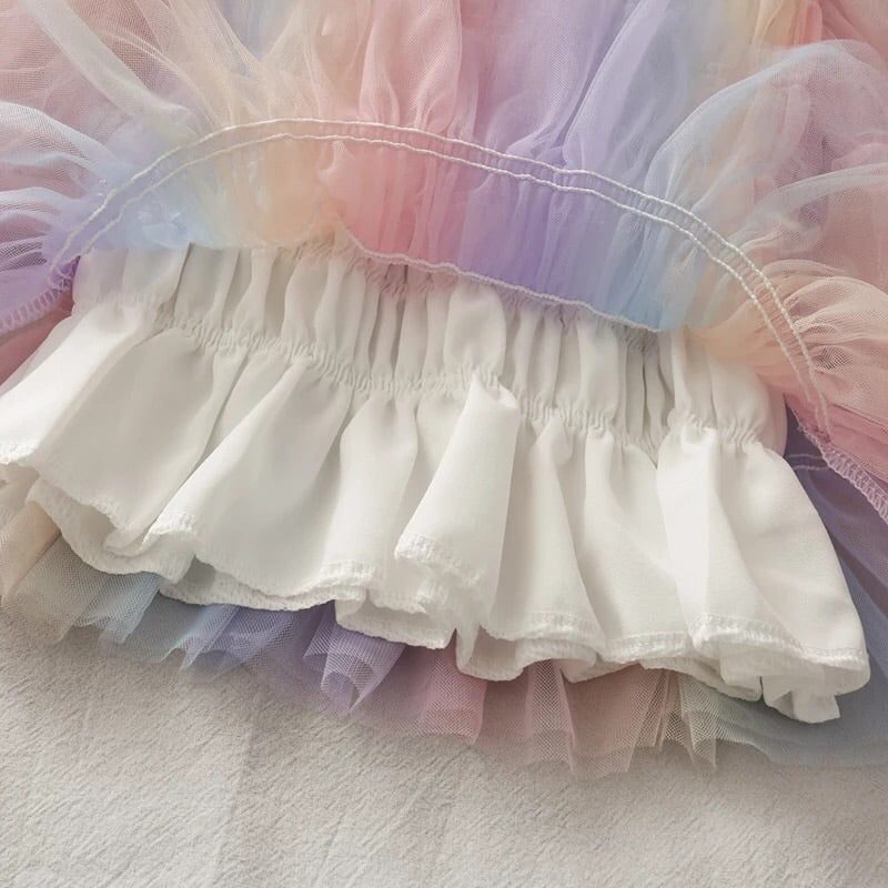 Pastel Rainbow Kawaii Princess Tulle Blouse
