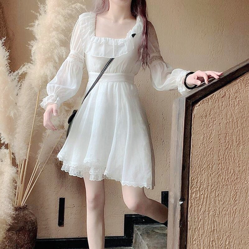 AspenWind Long Sleeve White Mori Princess Dress