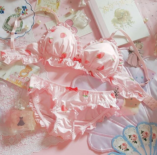 Pink Strawberry  2-piece Kawaii Lolita Nymphet Lingerie Set