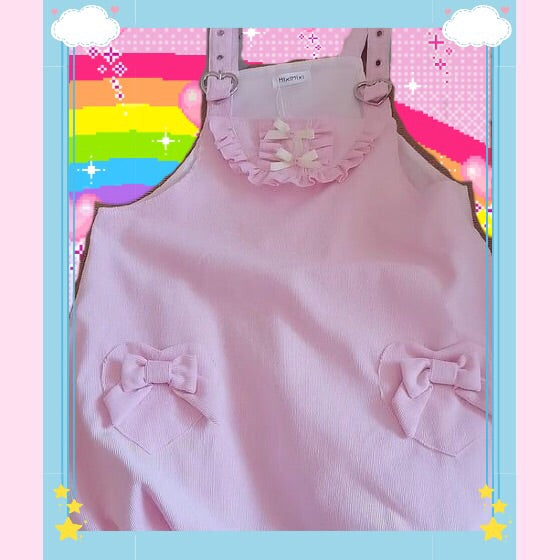 Pastel Pink Aesthetic Kawaii Lolita Pinafore Puff Mini Dress
