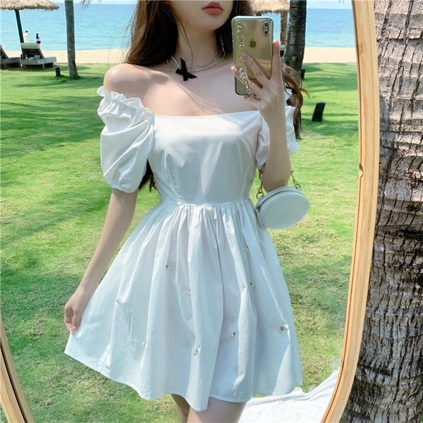 Pearl Embellished Kawaii Princess Mini Dress