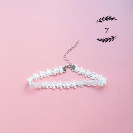 {FREE with Purchase of $25+}  Delicate White Lace Choker Necklace