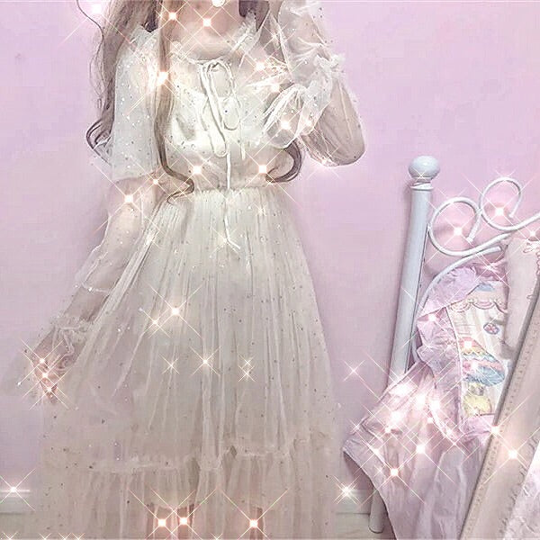Star Embellished Kawaii Princess Tulle Fairy Dress