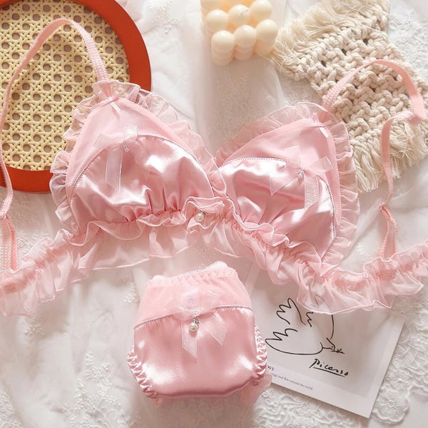 Pink Satin Ruffle Bows Kawaii Nymphet Lingerie Set
