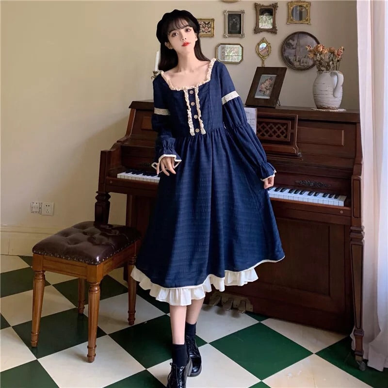 Indigo Cloud Vintage Aesthetic Fall Princess Midi Dress