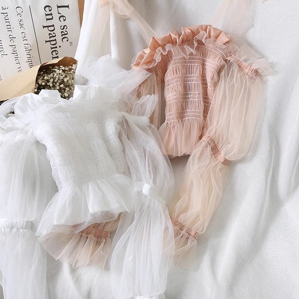 Lula Puff Sleeve Ruffle Fairy Crop Top
