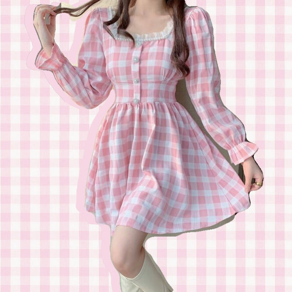 Pink Plaid Kawaii Princess Mini Dress